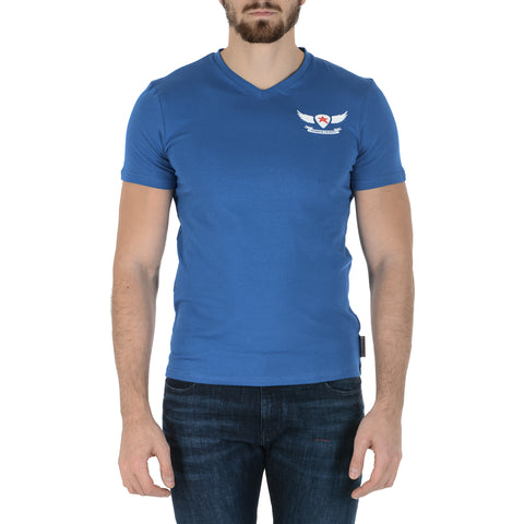 Andrew Charles New York Mens T-Shirt Short Sleeves V-Neck Blue KENAN