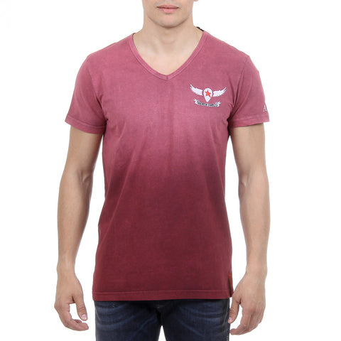 Andrew Charles New York Mens T-Shirt Short Sleeves V-Neck Bordeaux ELI