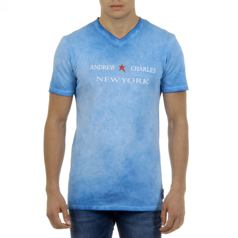 Andrew Charles New York Mens T-Shirt Short Sleeves V-Neck Light Blue KOFI