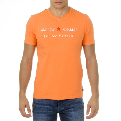 Andrew Charles New York Mens T-Shirt Short Sleeves V-Neck Orange KENAN