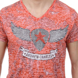 Andrew Charles New York Mens T-Shirt Short Sleeves V-Neck Red ISAAC