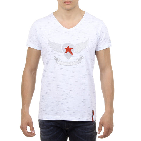 Andrew Charles New York Mens T-Shirt Short Sleeves V-Neck White CONNOR