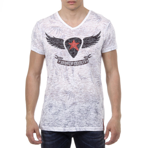 Andrew Charles New York Mens T-Shirt Short Sleeves V-Neck White ISAAC