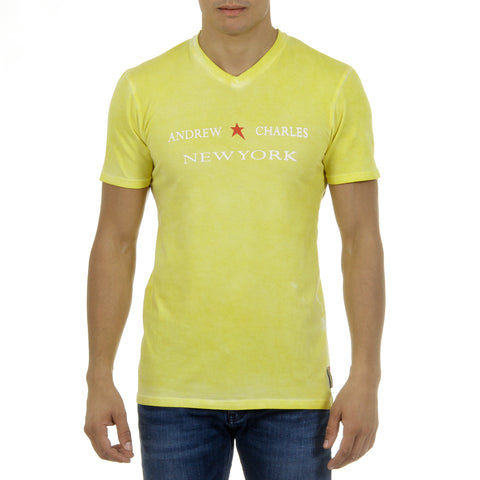 Andrew Charles New York Mens T-Shirt Short Sleeves V-Neck Yellow KOFI