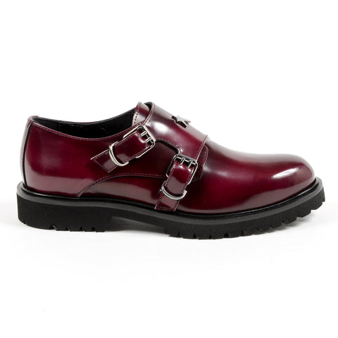 Andrew Charles New York Womens Monk Strap Shoe Bordeaux JANIS