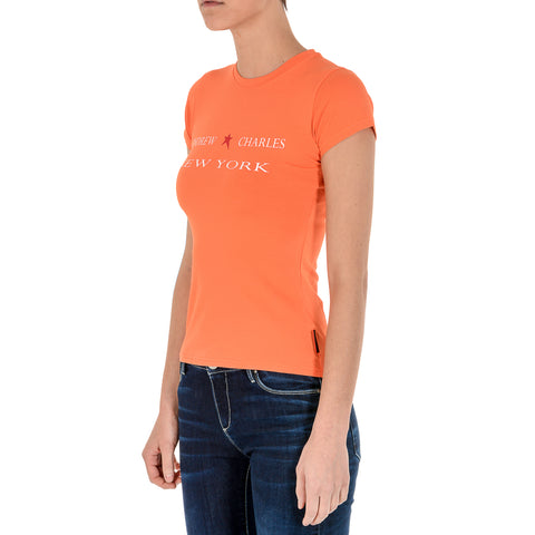 Andrew Charles New York Womens T-Shirt Short Sleeves Round Neck Orange TARANA