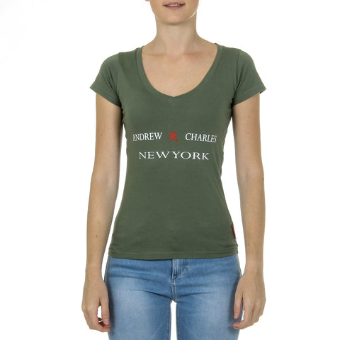 Andrew Charles New York Womens T-Shirt Short Sleeves V-Neck Green TAPIWA
