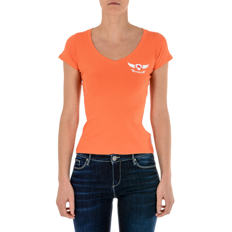 Andrew Charles New York Womens T-Shirt Short Sleeves V-Neck Orange TAPIWA