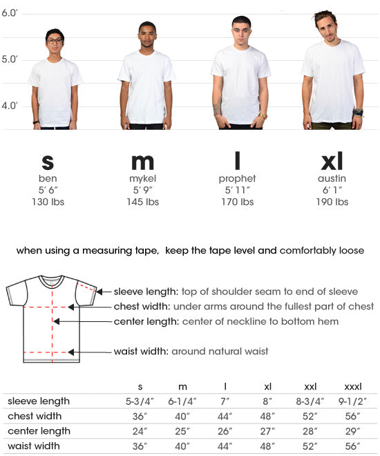 size chart for short sleeve tees