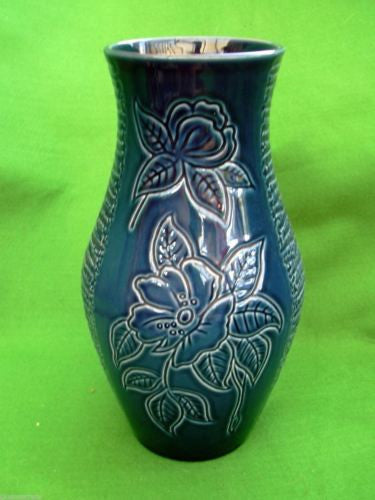 Royal Winton Dark Blue Pottery Kingston Large Vase 1953 Queen