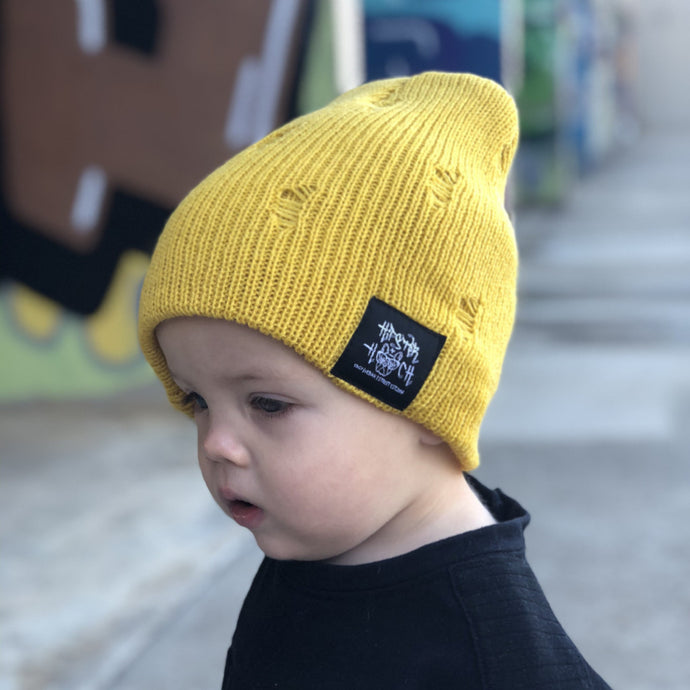 Distressed Slouch Beanie - Spicy Mustard