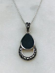 Onyx Necklace with Marcasite