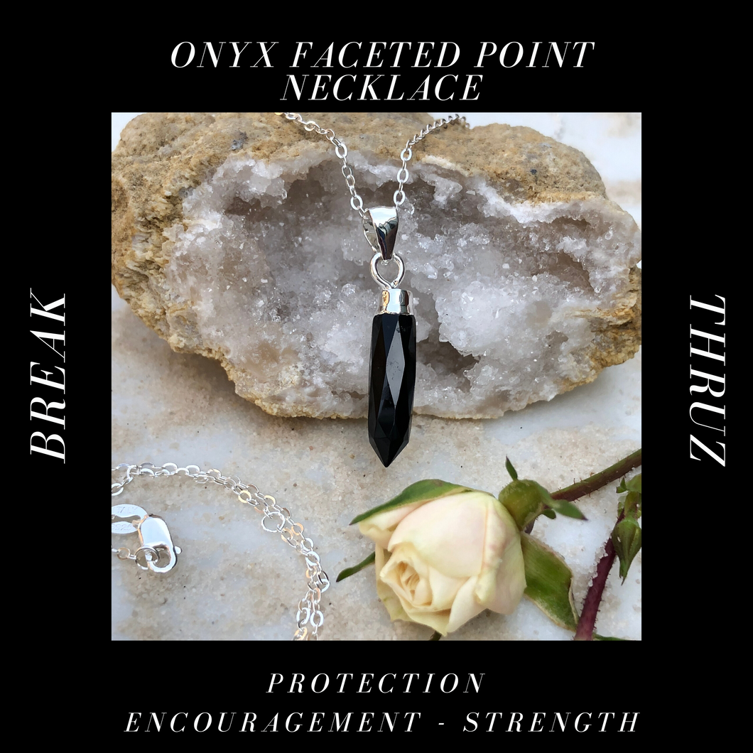 Onyx Faceted Point Necklace