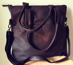 The Traveller - Genuine lambskin leather shoulder tote bag.