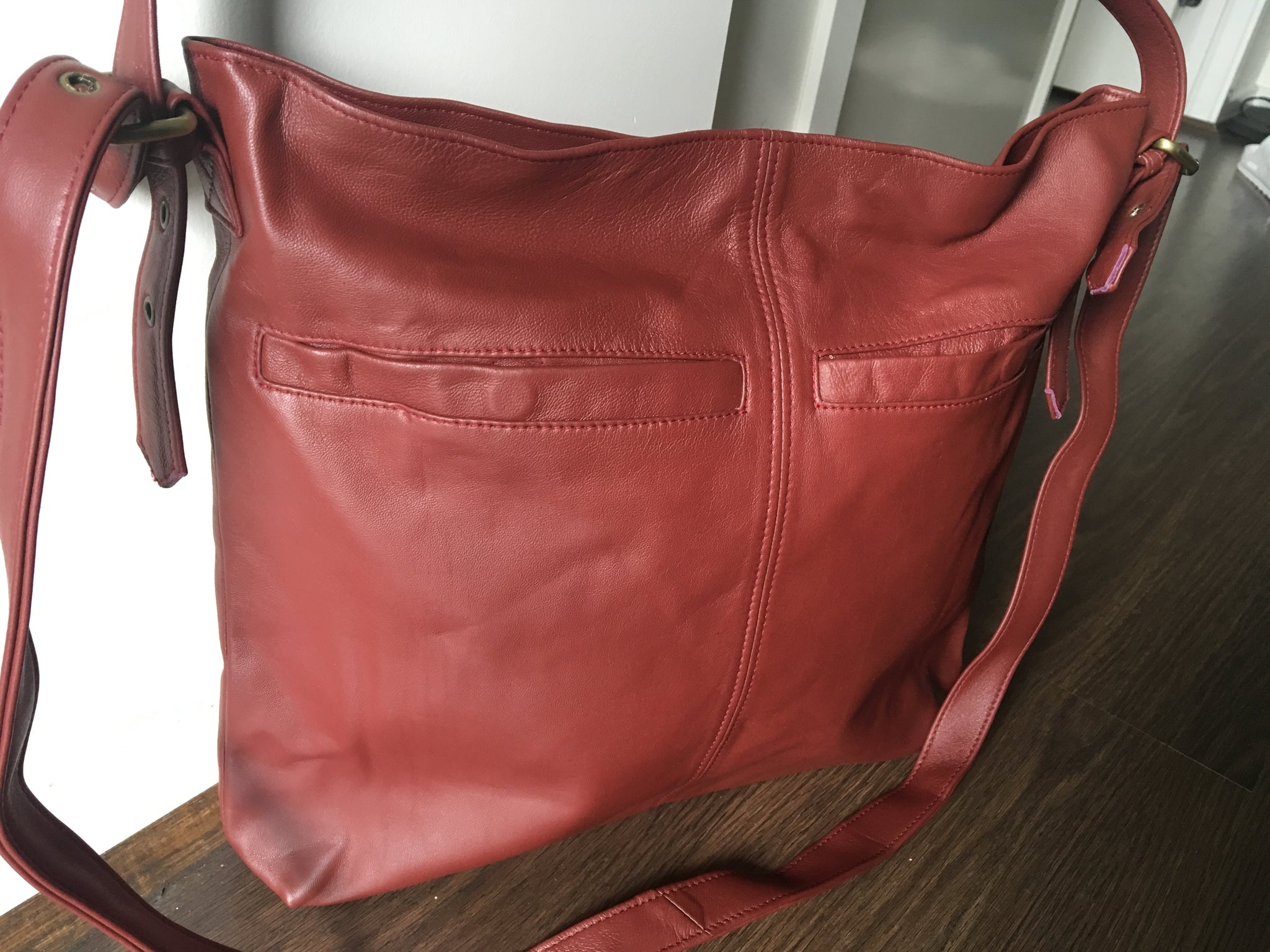 The Verve - Leather Tote Bag. Single strap,adjustable belt strap.