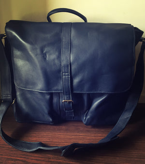 The Satchel - Leather satchel, computer work tote bag. Shoulder strap with lots of compartments