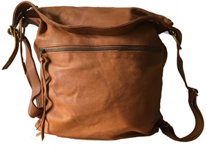 The Bolster - Backpack convertible leather bag.Real leather rucksack or crossbody bag.