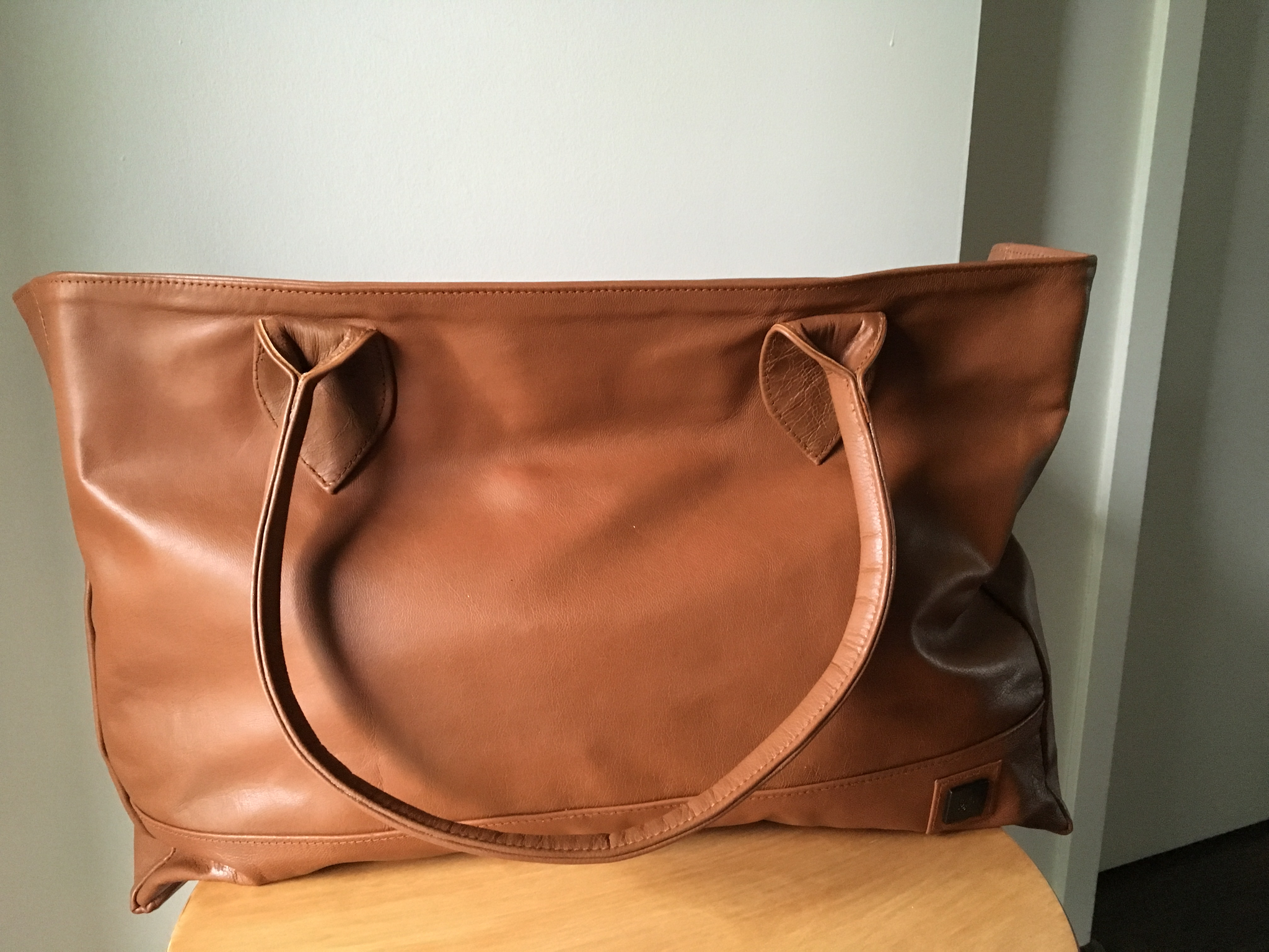 The Patron-Handmade leather shoulder tote bag. customisable tote handbag.Tan real leather tote.