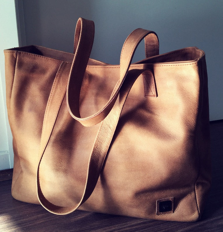 The Total Tote - Classic Leather Tote Bag - Handmade genuine leather bag