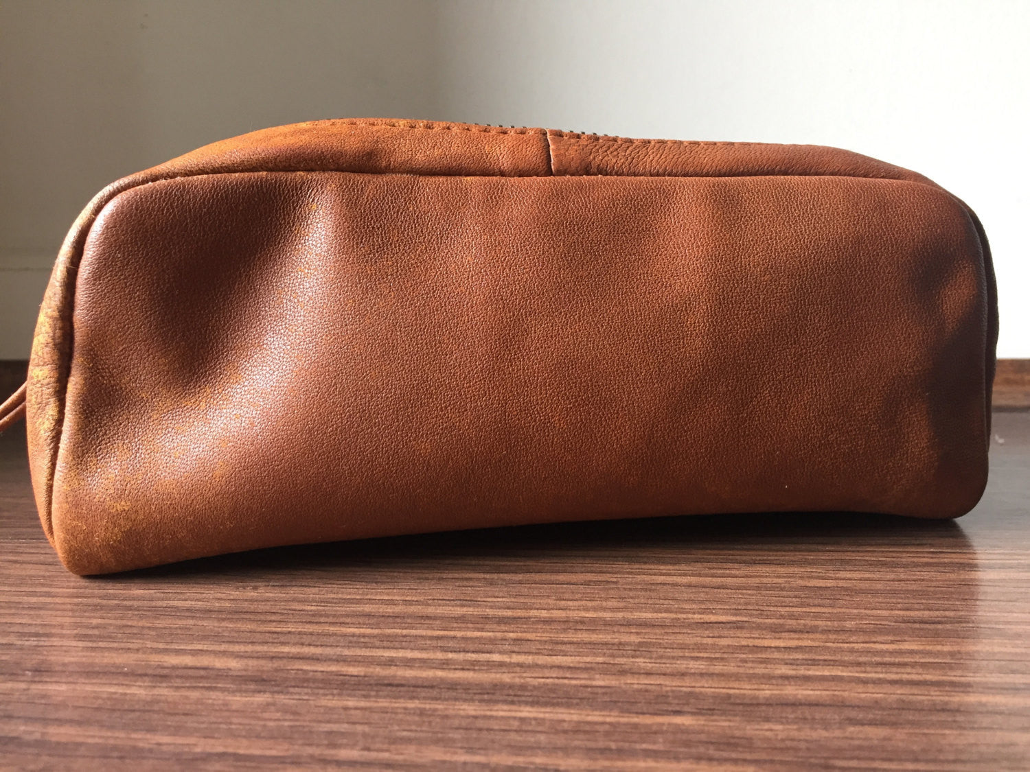 The Brush - Lined leather brush bag, cosmetic or make up bag with lining