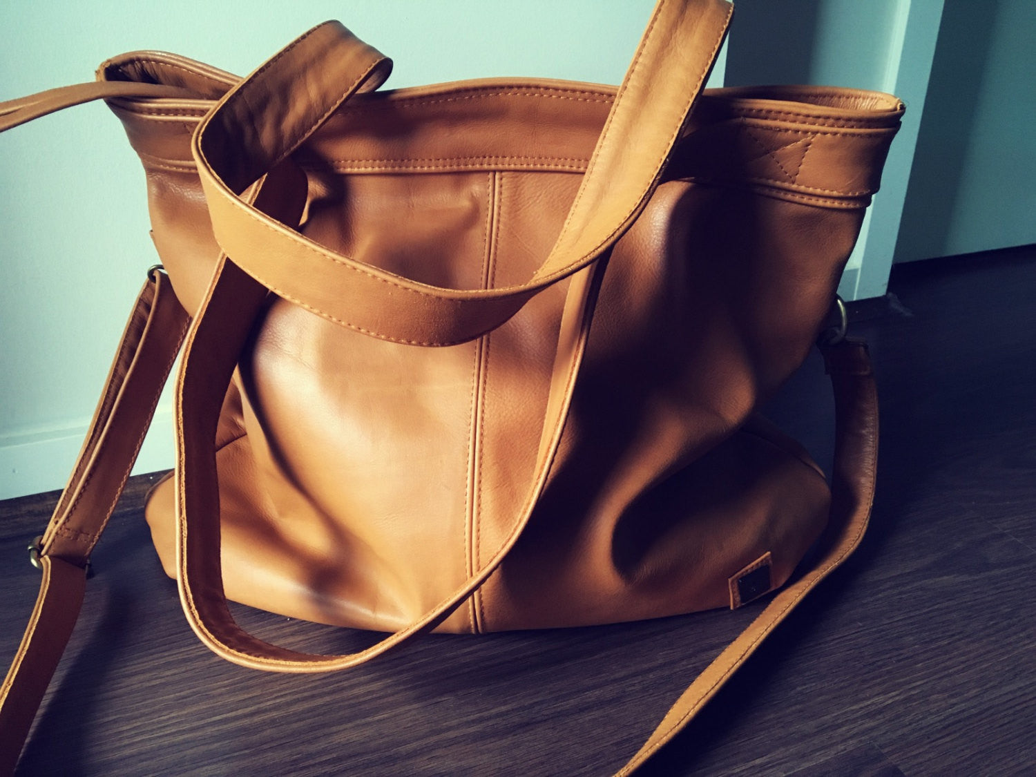 The Flick -Soft leather shoulder tote handbag. Shoulder tote bag, slouch tote.