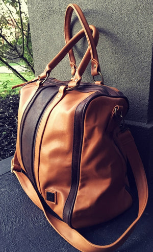 The Vallet-Tan real leather handmade handbag. Beautifully crafted bowling bag, doctors bag design.