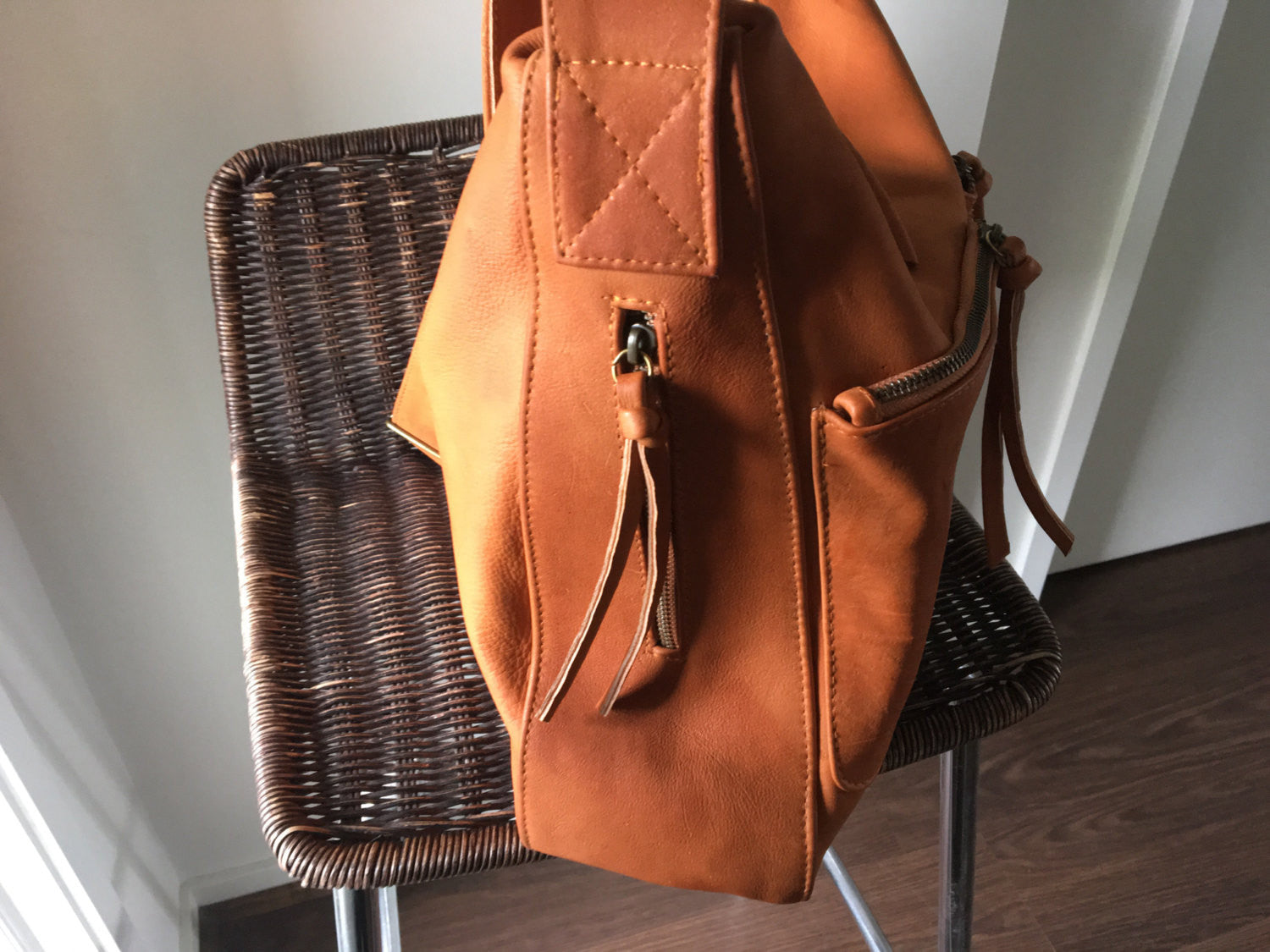 The Sender-Curved,hobo style,handmade leather bag.