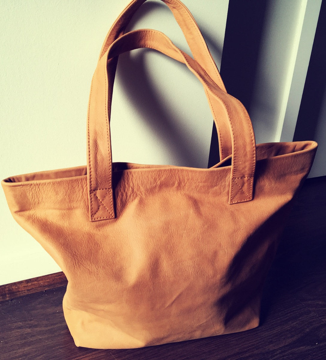 The Angle Tote - Handmade Leather Tote