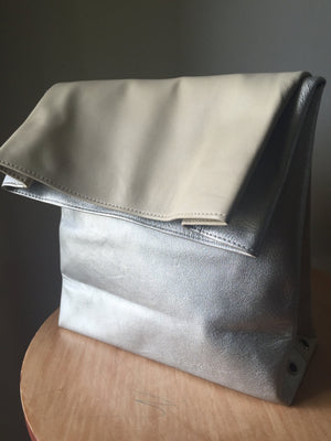 The Lunch - Leather Lunch Bag rolled clutch. Leather lunch bag tote.