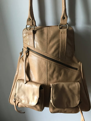 The Zoe-Tan leather shoulder tote and backpack in one. Stylish and functional .