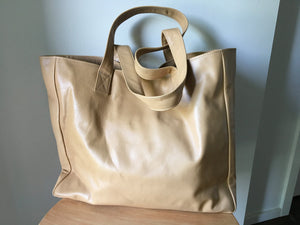 The Total - Classic tan leather tote, super soft leather.