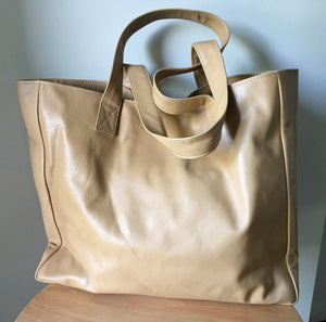 The Total - Classic tan leather tote, slouchy leather.