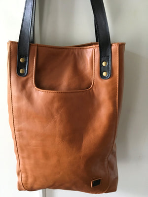 The Edge-Simple, stylish tan leather tote.