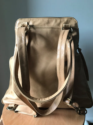 The Zoe-Tan leather shoulder tote and backpack in one. Stylish and functional.