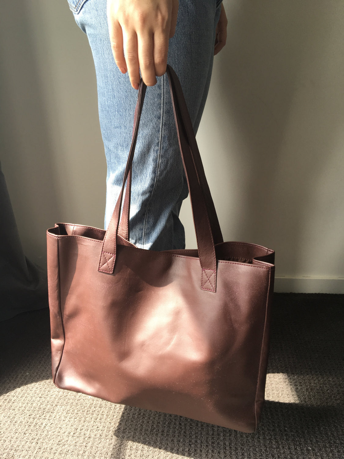 The Total - Cognac Leather Shoulder Tote Bag,Handmade genuine leather, Traditional and timeless bag, Leather tote bag,leather shoulder bag, tote