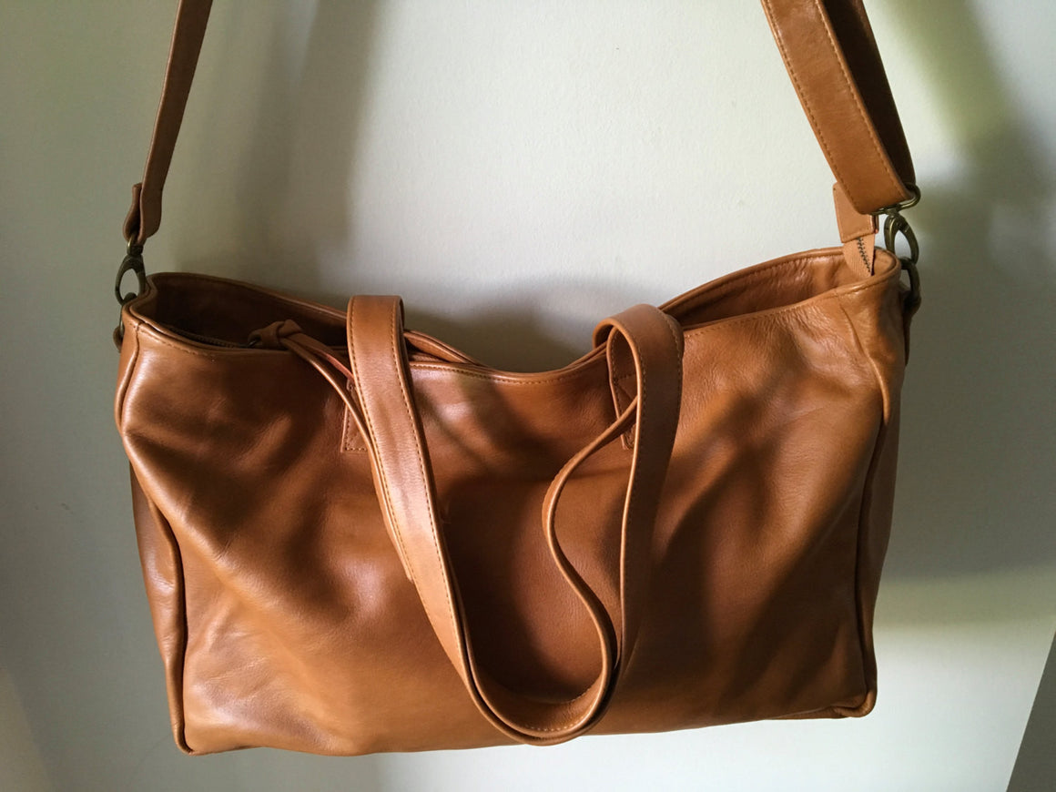 The Stretched Total-Large Tan Leather Tote,zip closure tote bag.Handmade crossbody tote with zipper.