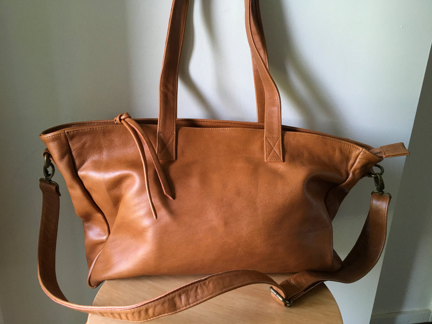 The Stretched Total-Large Tan Leather Tote with zip closure tote bag