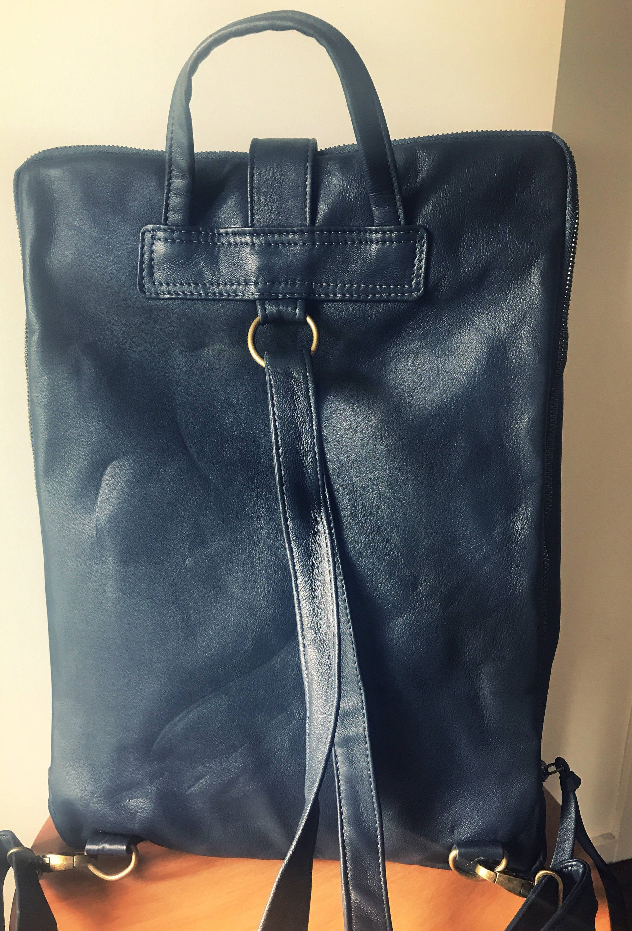 The Siena-Leather backpack handbag,handmade and able to be customised.