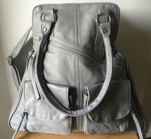 The Zoe - Tan leather shoulder tote and backpack in one. Stylish and functional.