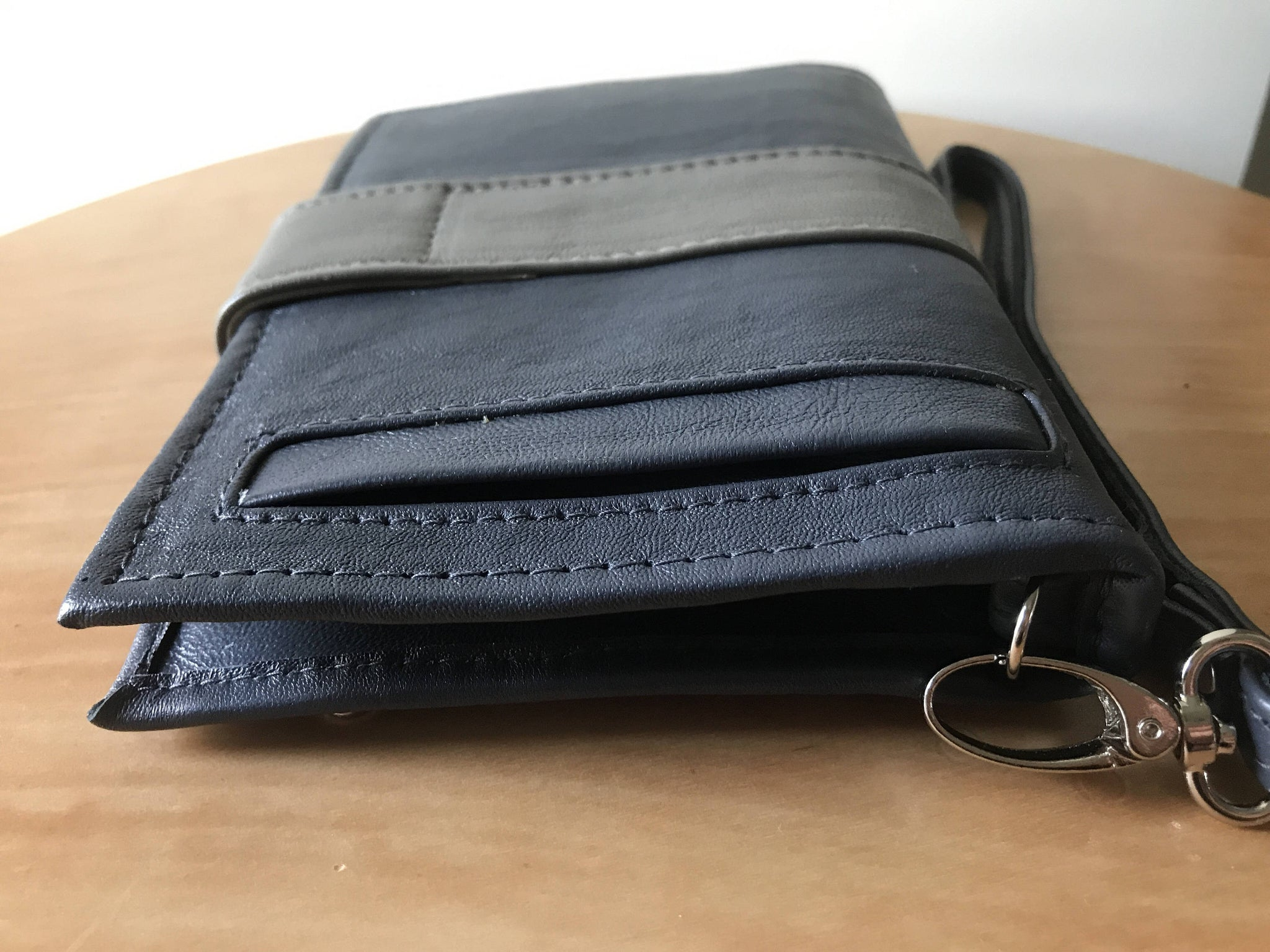 The Equity Wallet - Beautiful luxurious leather phone wallet.Wristlet with 27 card slots