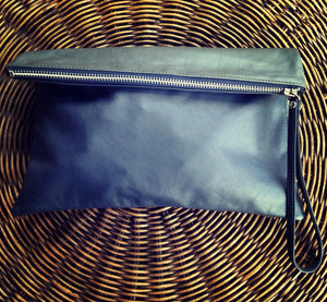 The Bi Fold Clutch - Soft leather clutch bag purse. iPad sleeve with wrist strap.