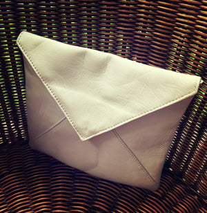 The Letter -Funky leather clutch. The Letter, soft stylish sheepskin leather envelope clutch bag.