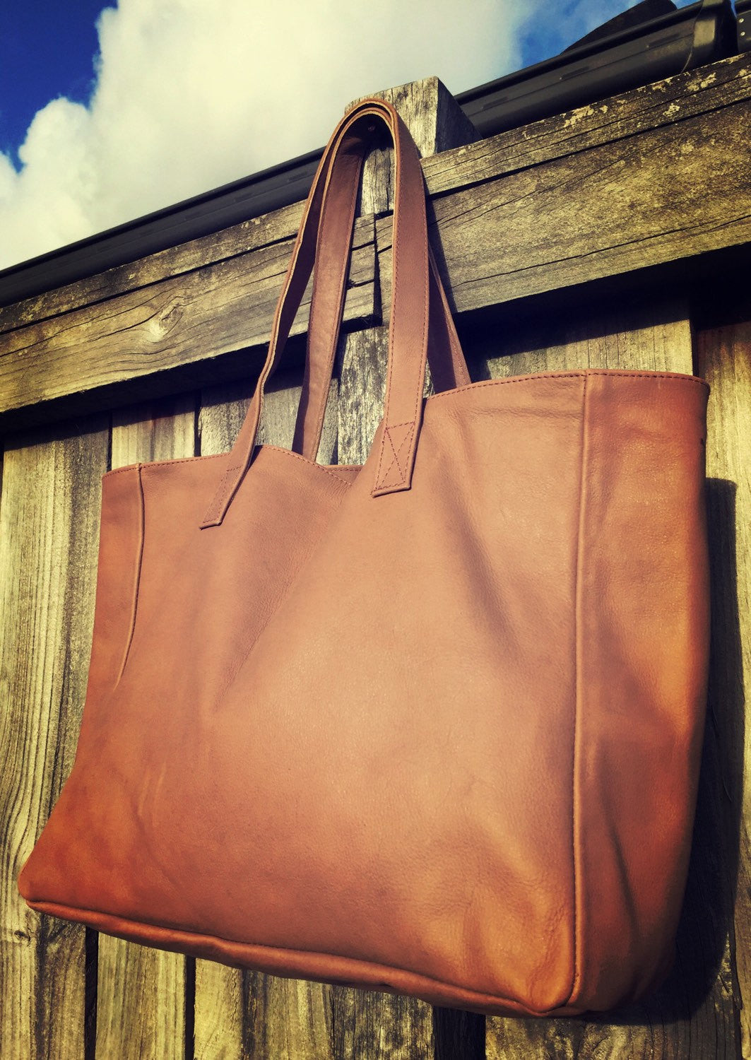The Total - Brown leather tote, super soft leather. Traditional,shoulder leather tote, strong straps
