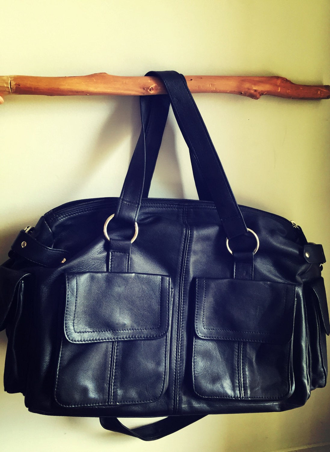 The Maker-Diaper Bag,large leather bag. Extra large, genuine leather bag.