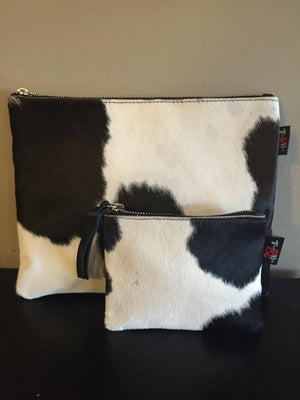 The Sumba-Cow Hide Hair Clutch Bag.