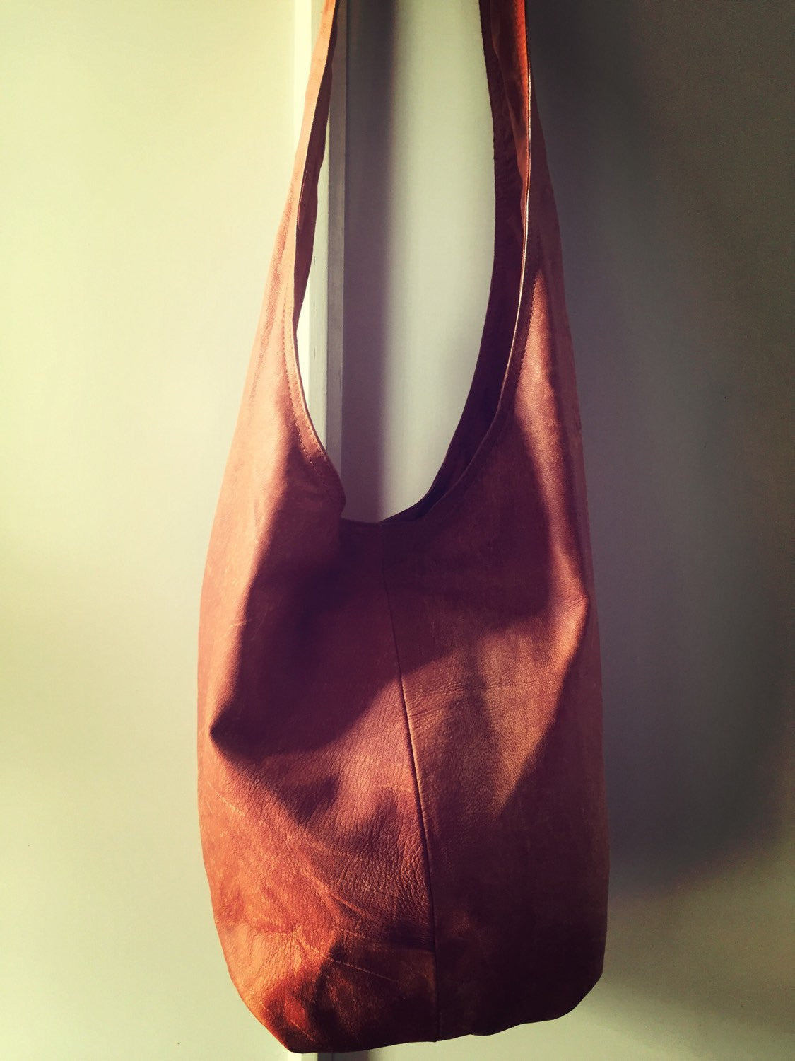 The Slingshot -Classic, slouch handbag, handmade from soft, genuine leather.