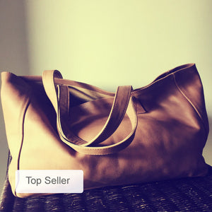 The Total-Caramel leather tote, super soft leather. Traditional,shoulder leather tote, strong straps