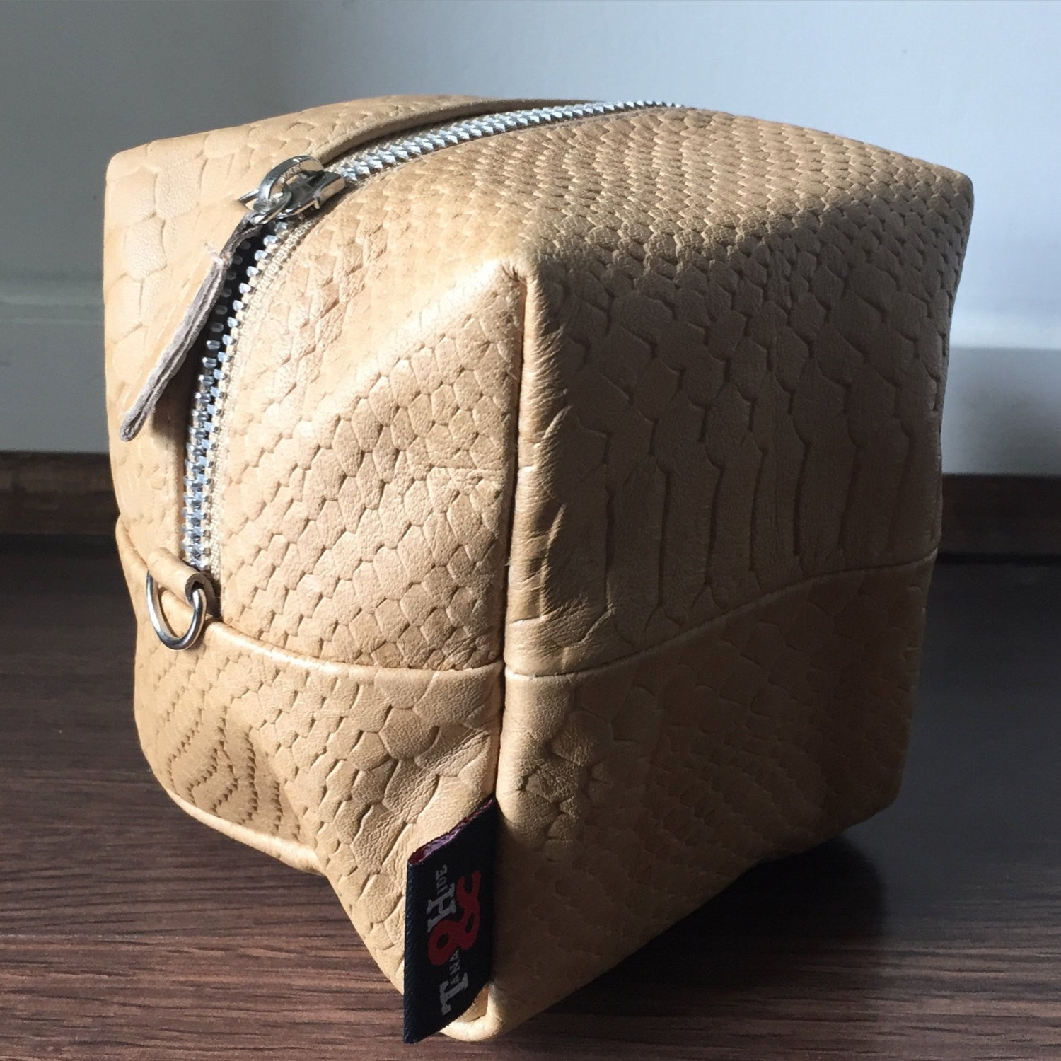 The Cubist - Lambskin leather cube pouch or purse. Make up bag or mini bag
