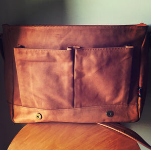 The Satchel-Leather satchel, computer work tote bag. Shoulder strap with lots of compartments.