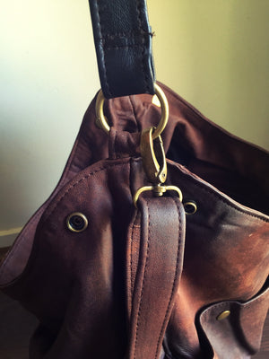 The Rio-Convertible soft shoulder tote bag, Super soft genuine leather tote, Crossbody and shoulder strap, slouchy tote made from genuine leather.